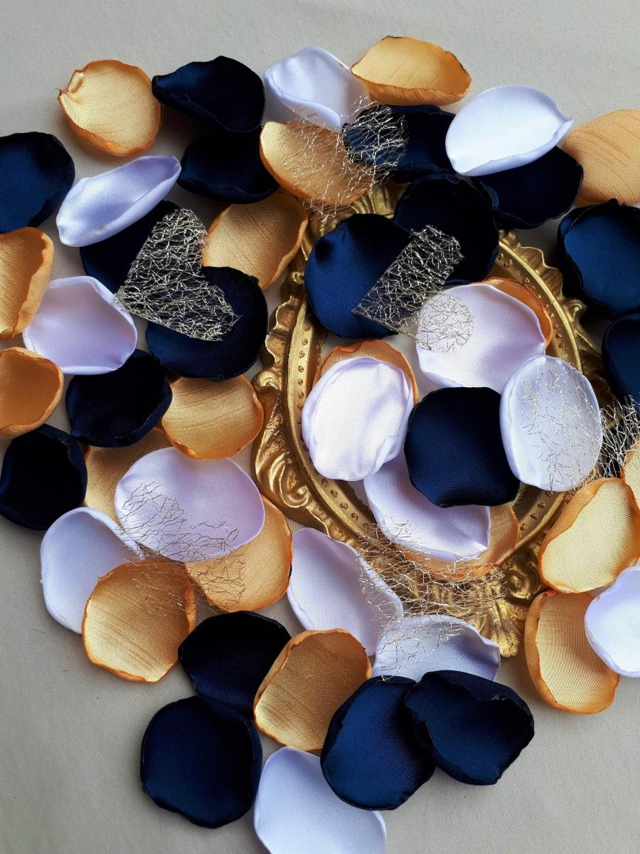 Свадьба - Navy Blue Gold & White Satin Petals With Golden Hearts, Elegant Wedding Flower Girl Petals Gold Party Supplies Gatsby Wedding Southern Chic