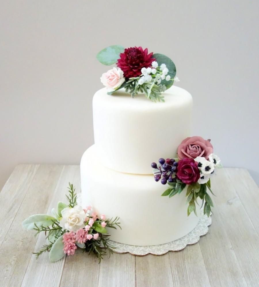 Свадьба - Wedding Cake Topper, Summer Wedding, Pink & Burgundy Cake Flowers, Floral Cake Decoration, Cake Flowers, Pink Cake Flowers, DYI Cake Decor