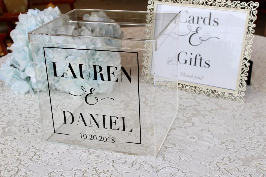 Свадьба - Personalized Wedding Card Box I Acrylic Card Box I Wedding Card Box with Lid