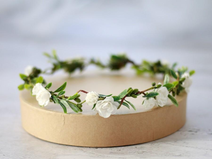 زفاف - Dainty Flower Crown White, Wedding Floral Crown, Bridal Floral Crown, Simple Flower Girl Tiara, Bridesmaid Headpiece