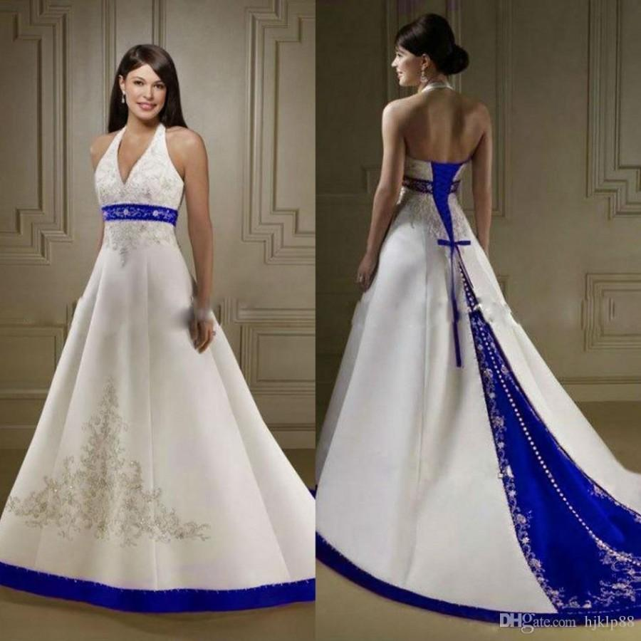 Свадьба - Discount Court Train Ivory And Royal Blue A Line Wedding Dresses Halter Neck Open Back Lace Up Custom Made Embroidery Wedding Bridal Gowns Simple Wedding Dress Black And White Wedding Dresses From Hjklp88, $115.33