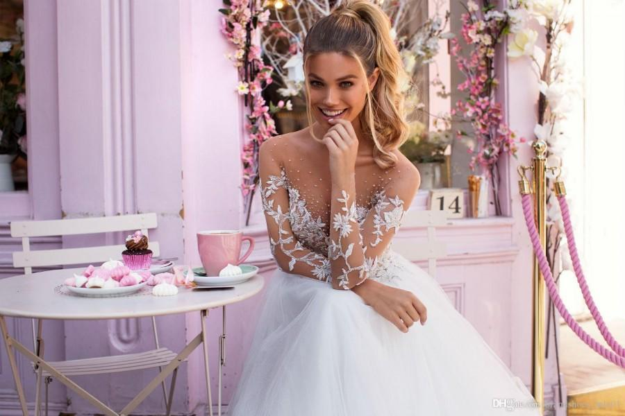 Mariage - Discount 2019 Milla Nova Illusion Long Sleeves Tulle A Line Wedding Dresses Lace Applique Beaded Sweep Train Wedding Bridal Gowns Bridal Party Dresses Buy Wedding Dress Online From Brandshoes_sale01, $129.45