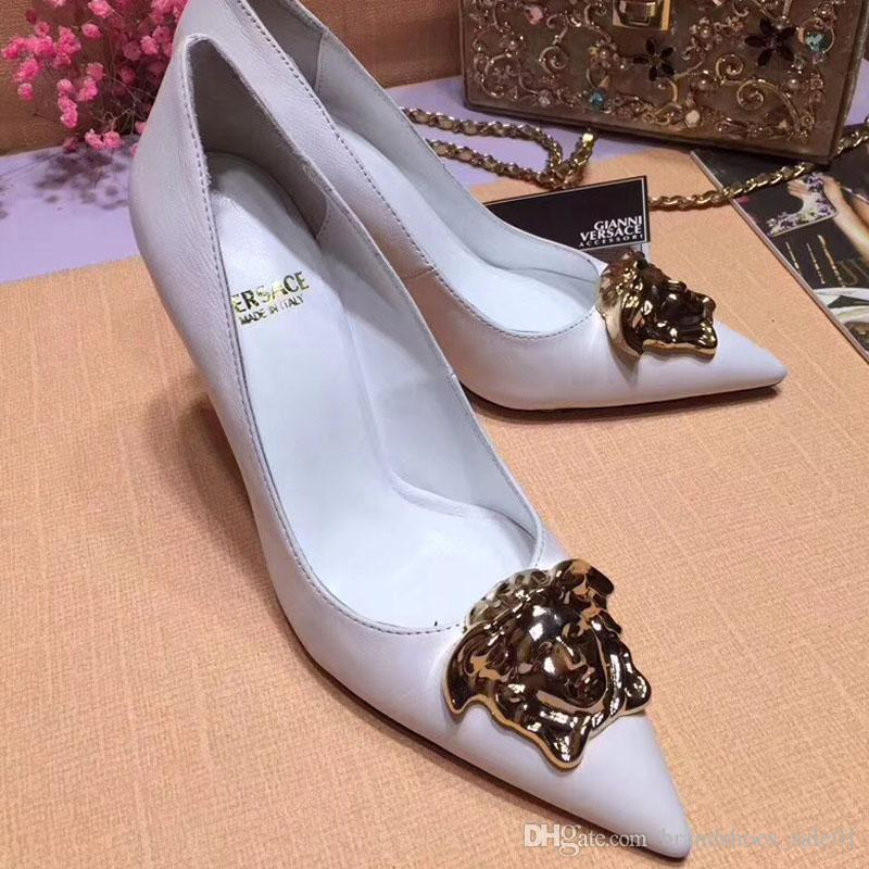 Свадьба - Genuine Leather Medusa Brand New Sexy Shoes Woman Summer Sandals High Heeled Shoes Pointed Toe Fashion Wedding Shoes Single High Heel10cm Cheap White Wedding Shoes Clear Wedding Shoes From Brandshoes_sale01, $64.73