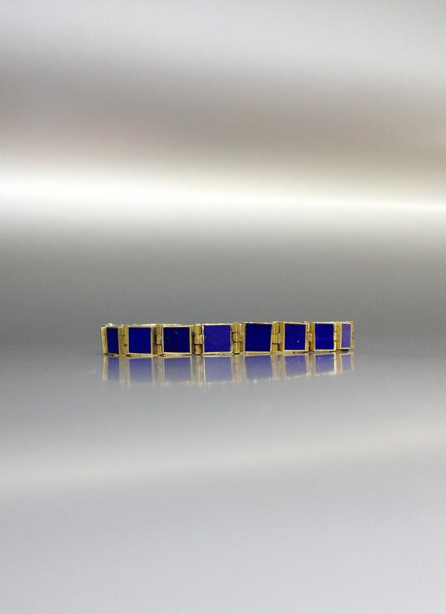 Wedding - Beautiful timeless Lapis Lazuli with 18K gold bracelet - gift idea - solid gold and AAA Grade stone - perfect inlay work and design - square