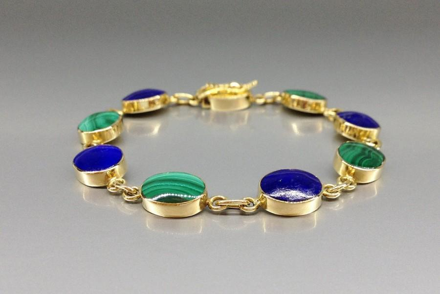 Mariage - Classic beautiful bracelet combining Lapis Lazuli and Malachite in 18K gold - gift idea - blue and green with solid gold - AAA Grade stone