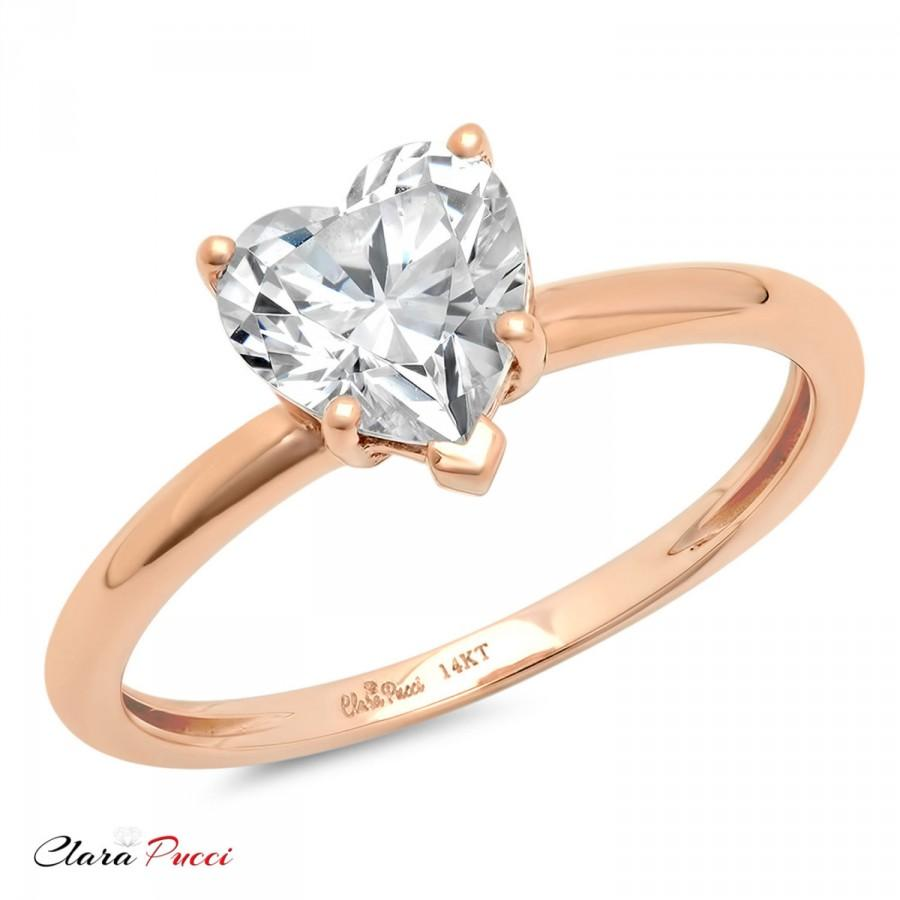 Свадьба - Unique Wedding Ring Set, Unique Wedding Set, Wedding Ring Set, 1.30 Ct Heart Shaped Cut Solitaire Engagement Ring Real 14k Rose Gold