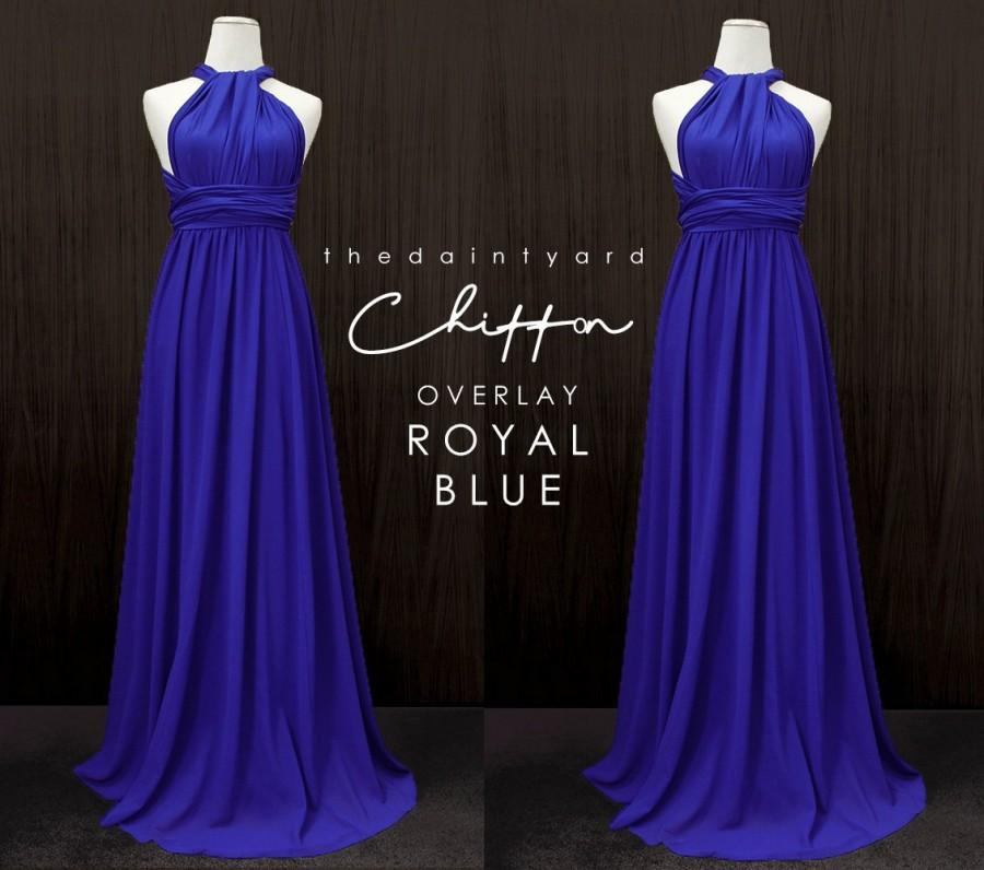 Mariage - TDY Royal Blue Chiffon Overlay Skirt for Maxi Long Convertible Dress / Infinity Dress / Wrap Dress / Bridesmaid Multiway Dress