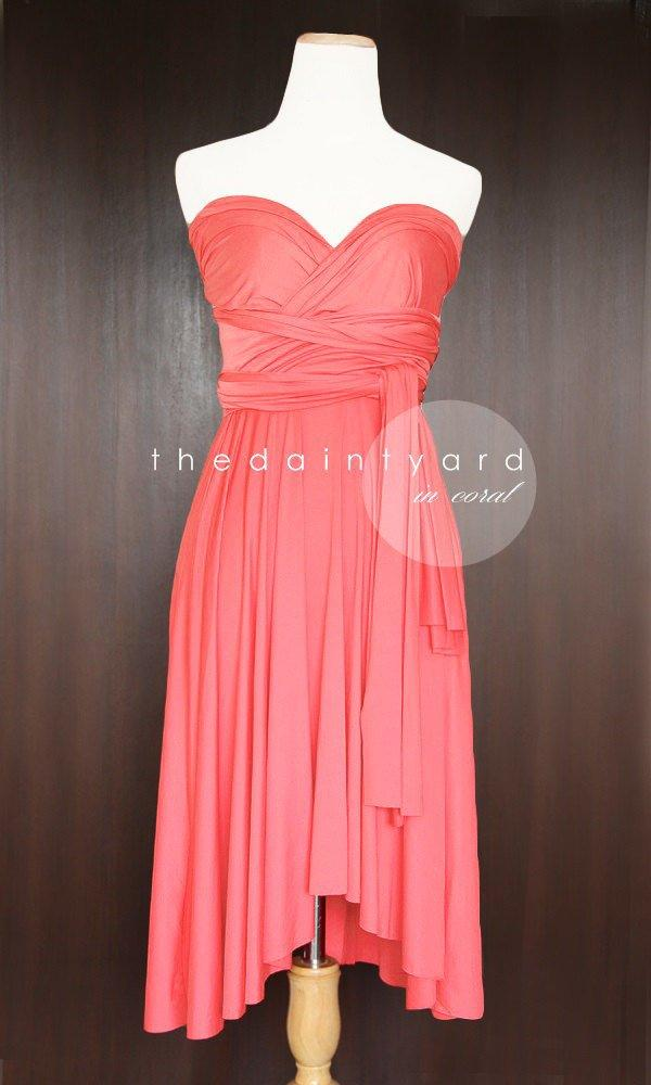 Wedding - TDY Coral Short Asymmetrical Bridesmaid Dress Convertible Dress Infinity Dress Multiway Wedding Maid of Honour Dress (Regular & Plus Size)