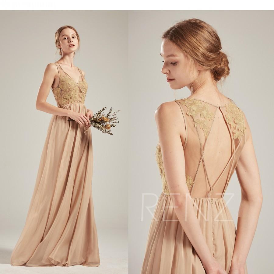 Wedding - Bridesmaid Dress Champagne Chiffon Dress,Wedding Dress,Illusion V Neck Maxi Dress,Sleeveless Party Dress,Open Back Lace Prom Dress(L486)