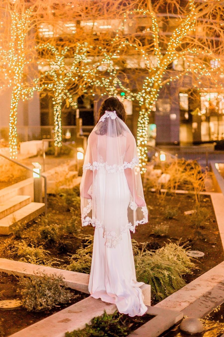 Wedding - Fingertip Length Two-Tier Veil #82, Fingertip Length veil, Fingertip Veils, Wedding Veil with Blusher ,Bridal Lace Veil, Custom Wedding Veil