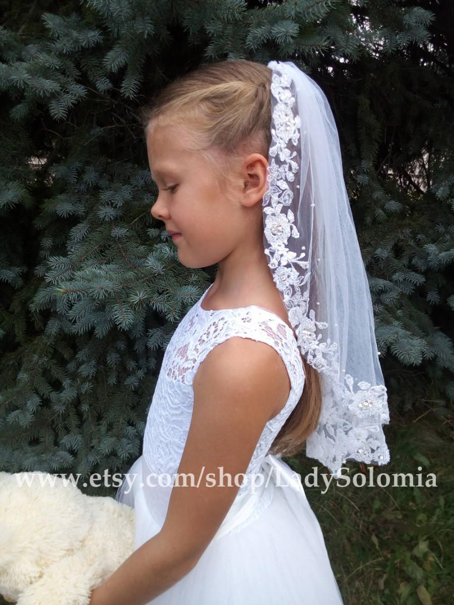 Mariage - First Communion Veil, One tier communion veil, Holy Communion, Lace Communion Veil, Flower girl veils, Little girls veil, Communion Mantilla