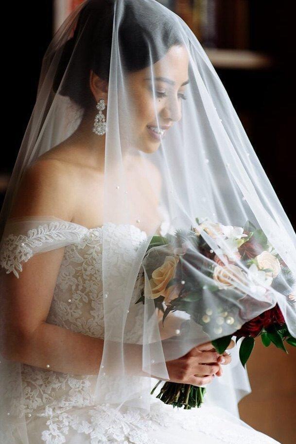 Свадьба - Drop Wedding Veil with Pearls, Drop Veil, Mantilla Veil with Pearls, Drop Veil with Pearls, Cathedral Drop Veil, Pearls, White Drop Veil