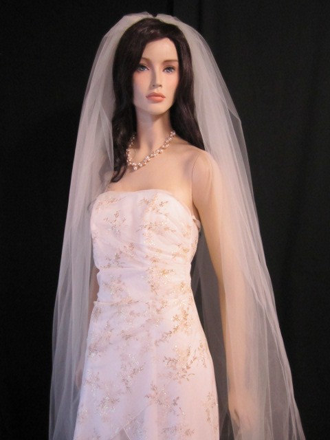 Mariage - 2 tier cathedral veil, bridal veil, wedding veil, both tiers at 120 inches, elegant, regal, soft, raw cut, round bottom, volume, sheer