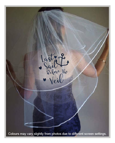 Hochzeit - Nautical bachelorette hens party veil with glitter wording