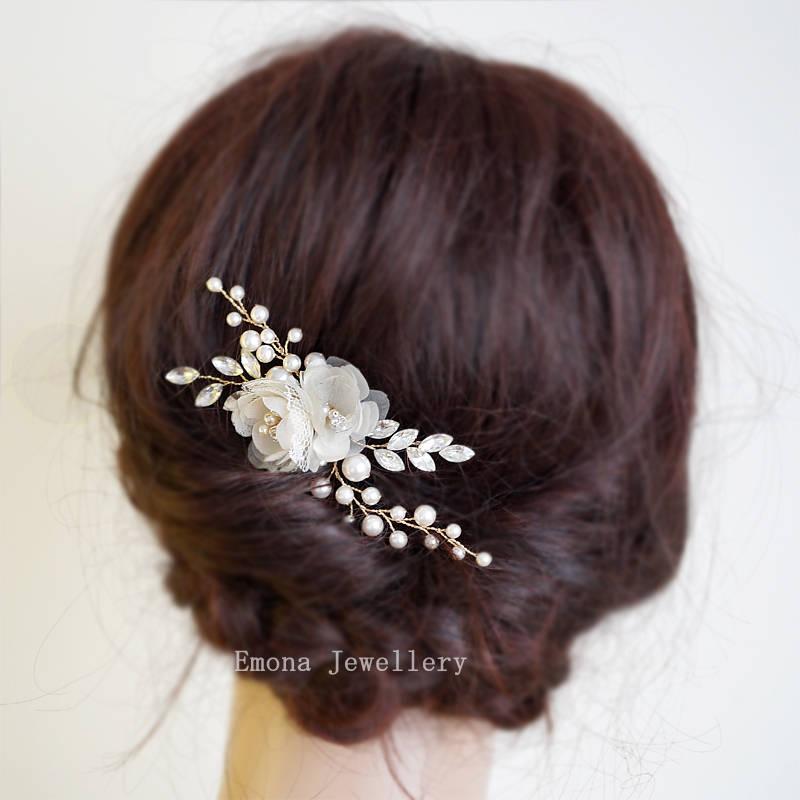 Mariage - Wedding Hair Piece Rose Gold Hair Accessories Bridal Headpiece Ivory Wedding Hair Clip White  Bridal Hair Flowers Wedding Hair Comb