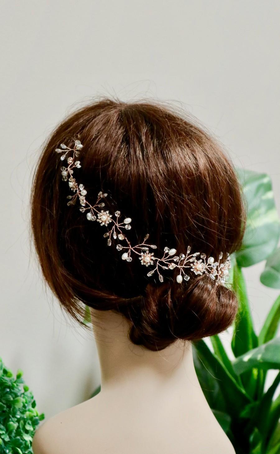 Mariage - Bridal hair piece Bridal hair vine Bridal headpiece Bridal hair comb Wedding hair comb Wedding hair piece Rose Gold hair vine