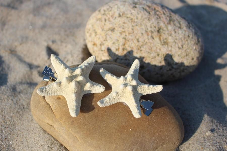 Mariage - Small SET of White Knobby Starfish Hair Clips *limited time SALE!*