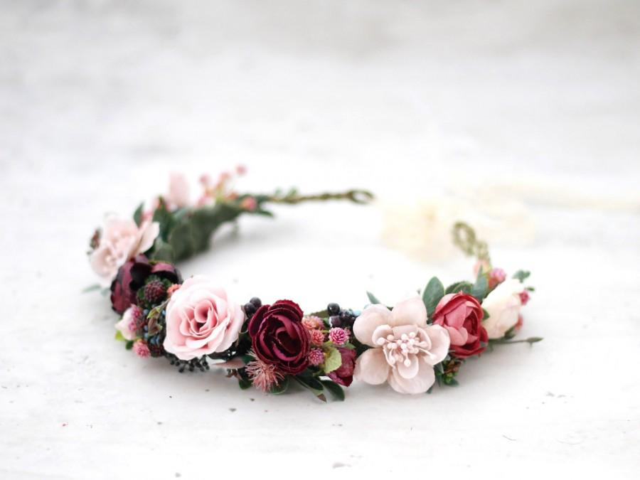 Свадьба - Blush Burgundy Flower Crown Wedding, Rustic Floral Crown Bride, Burgundy Flower Wreath