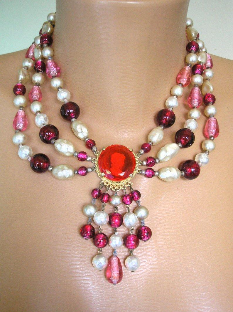 Wedding - Vintage Cameo Necklace, Red And Pink Cameo, Cameo Jewelry, 3 Strand Foiled Beads, Pearl And Glass Bead Necklace, Cranberry Glass Beads