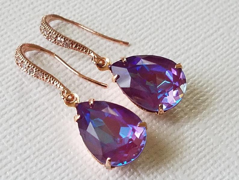 Hochzeit - Swarovski Burgundy DeLite Rose Gold Earrings, Purple Turquoise Teardrop Earrings, Wedding Crystal Dangle Earrings, Bridesmaid Purple Jewelry
