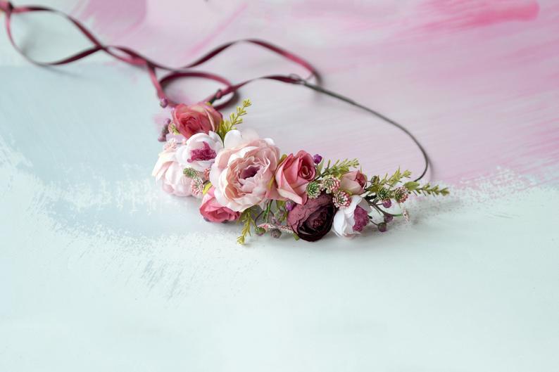 Mariage - Blush pink burgundy wedding flower crown Blush floral headband Boho crown Bride Flower hair halo Burgundy pink floral crown