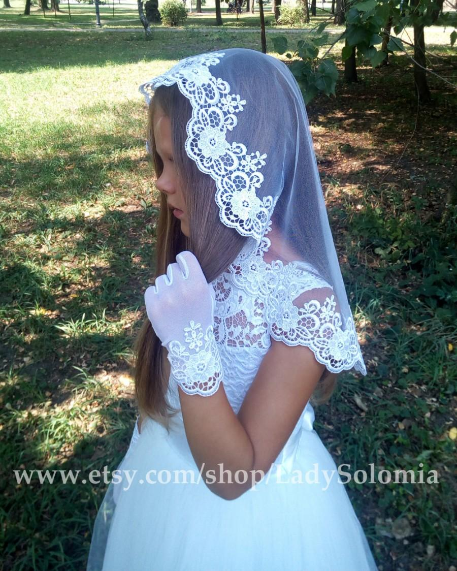 Mariage - First Communion Veil + Gloves, Flower Girl veil, Lace Communion Veil, Communion Gloves, Confirmation Veil, Junior bridesmaid Holy Communion