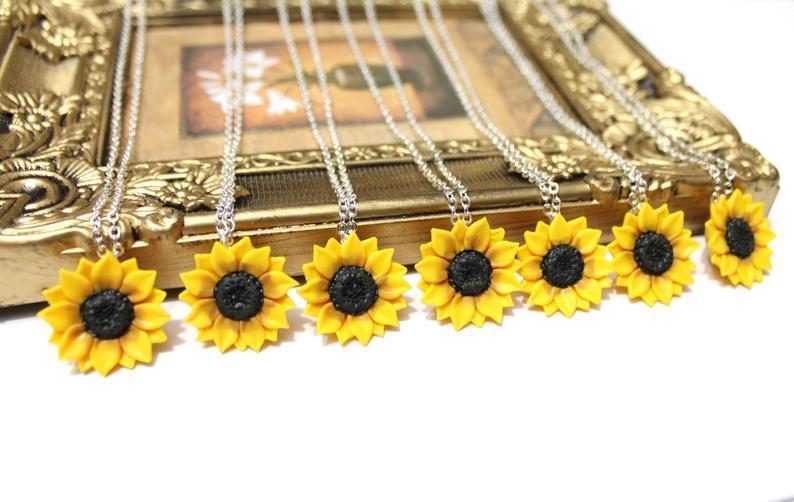 زفاف - SET of 6 Sunflower Necklace, Sunflower Bridal, Sunflower Jewelry, Gifts, Sunflower Flower Necklace, Bridal Flowers, Bridesmaid Necklace