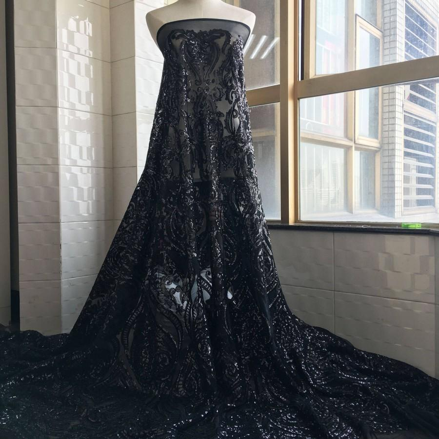 Hochzeit - Sparkling Sequined Black Lace Fabric Vintage Sequins Floral Lace Gauze 57 inches Wide for Evening Gown Prom Party Dress Costume  1 Yard