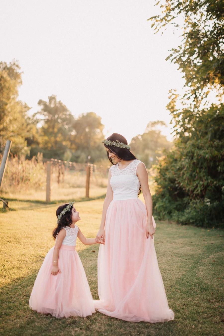 Свадьба - Blush pink Mother Daughter Matching Tutu Lace Dresses, Tulle Dress Long Floor Length, Blush Pink Lace Dress, Rustic Girl Dress