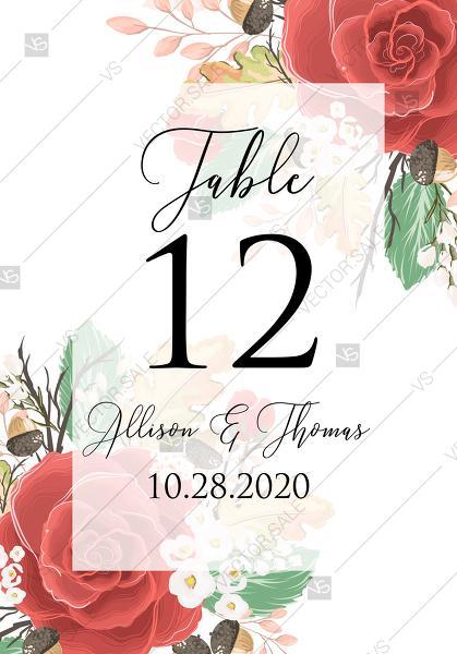 Mariage - Table palse card custom template red rose autumn fall leaves pdf