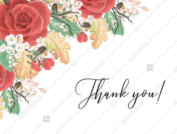 Mariage - Thank you card custom template red rose autumn fall leaves baby shower invitation