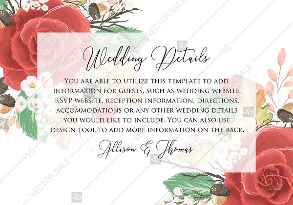 Mariage - Wedding Detail card custom template red rose autumn fall leaves custom invitation