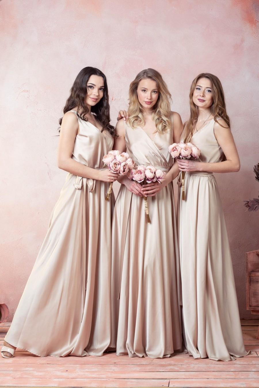 Beige Bridesmaid Dress Boho Gown Infinity Wrap Dress Bohemian