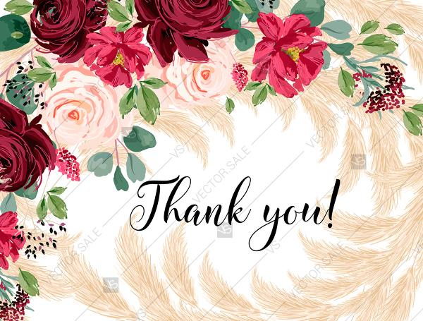 Mariage - Thank you card Marsala peony rose pampas grass pdf custom online editor