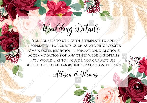Mariage - Wedding details card Marsala peony rose pampas grass pdf custom online editor