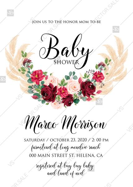 Wedding - Baby shower invitation Marsala peony rose pampas grass pdf custom online editor