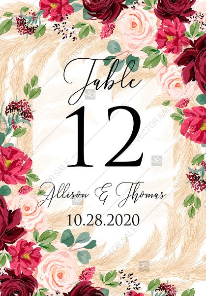 Mariage - Table place card Marsala peony rose pampas grass pdf custom online editor