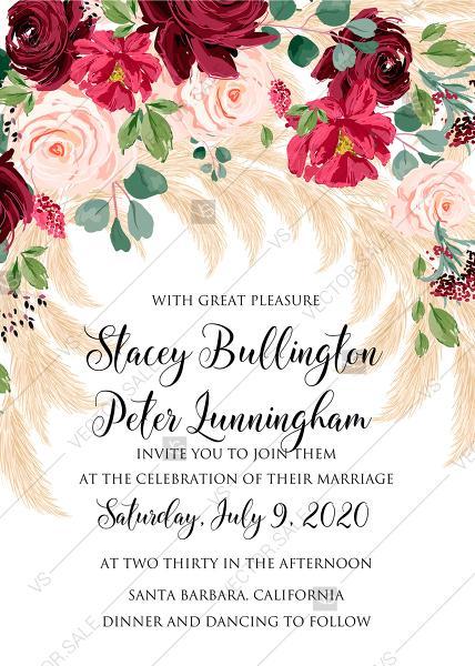 Mariage - Wedding invitation Marsala peony rose pampas grass pdf custom online editor