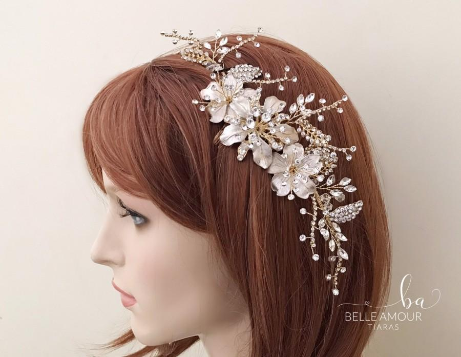 Wedding - Gold bridal comb Bridesmaids hair piece Gold rhinestone comb Bridal hair accessories Wedding head piece Bridal gold  hairpiece Brides comb