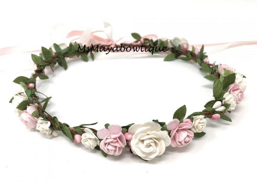 Wedding - Blush flower crown, spring flower crown, flower girl crown, bridal flower crown, bohenian flower crown, flower headband, wedding crown