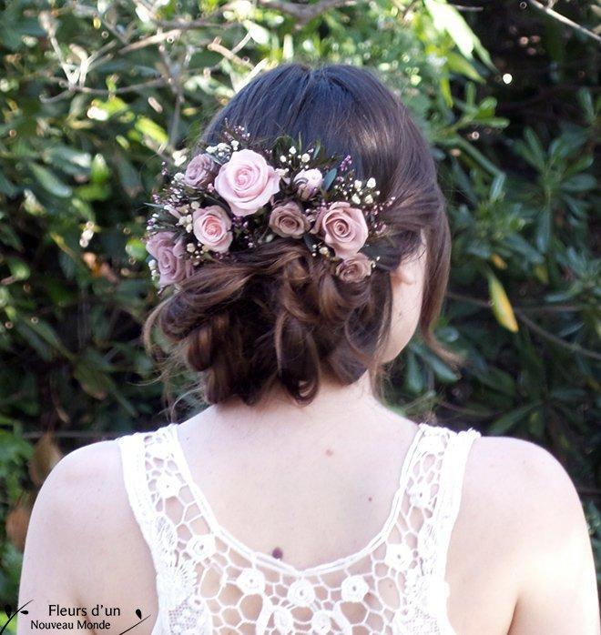 "Mariage - Half crown ""Lara"" with natural preserved flowers, romantic accessory for bridal bun, half crown of roses and foliage, Blush bridal headpiece"