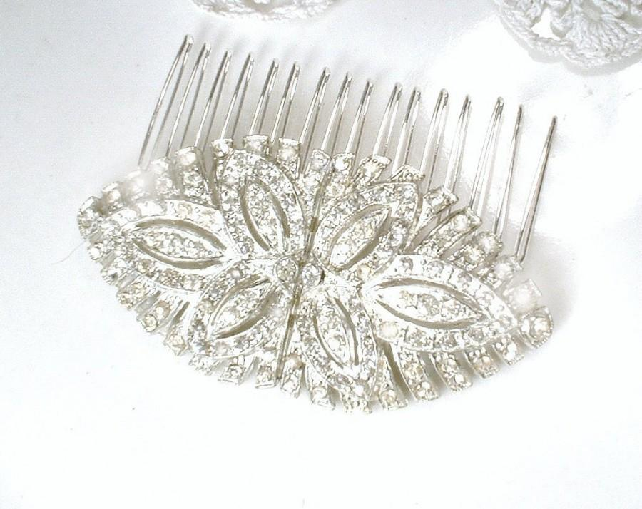 Wedding - Authentic Art Deco Pave Rhinestone Bridal Hair Comb,Silver Paste Crystal 1930s Vintage Wedding Dress Clips OOAK Headpiece Accessory GATSBY