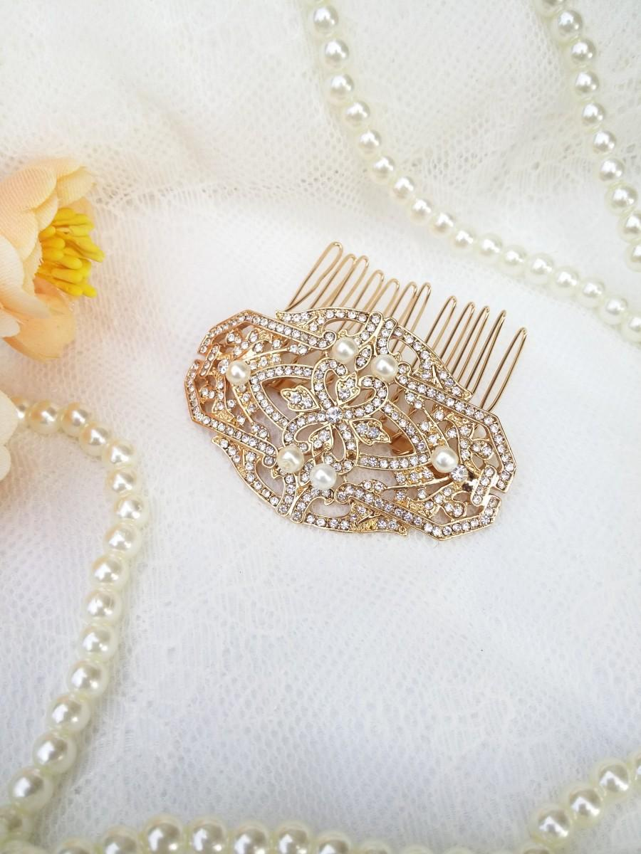 Mariage - Gold crystal Hair Comb with pearls Small Gold hair clip Gold bridesmaids hair comb 20's 30's Wedding Bridesmaid Art Deco head piece