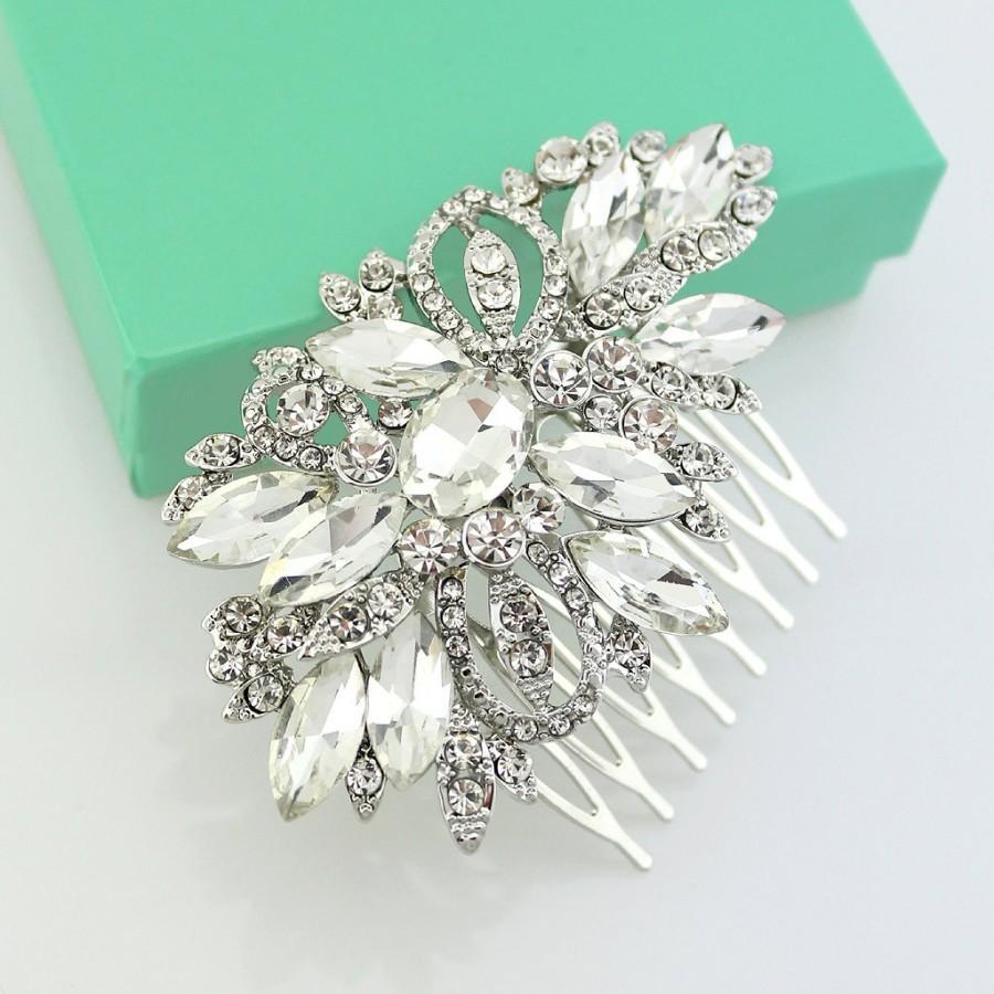 Wedding - Bridal Rhinestone Comb, Silver Wedding Hair Accessory, Crystal Silver Hair Piece, Bridal Hair Clip, Crystal Rhinestone Hair Combs