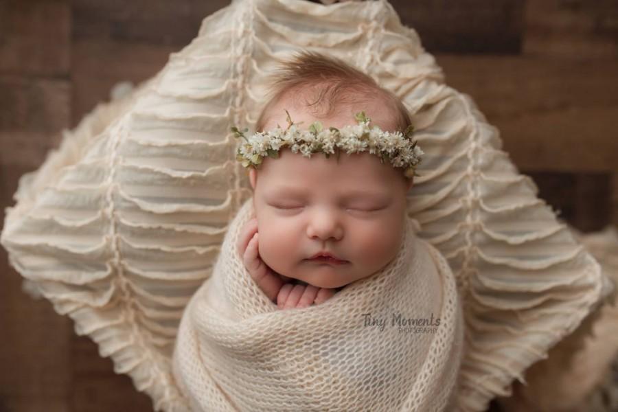 Wedding - Olivia--Newborn Flower Crown--Newborn Photography Prop--Newborn Flower Halo