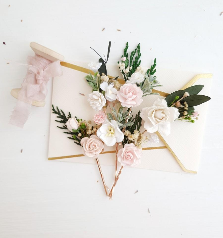 Mariage - Flowers Bobby pins, Blush pink flower bobby pins, White Set of 6, Blush flower headpiece, Winter hair pins