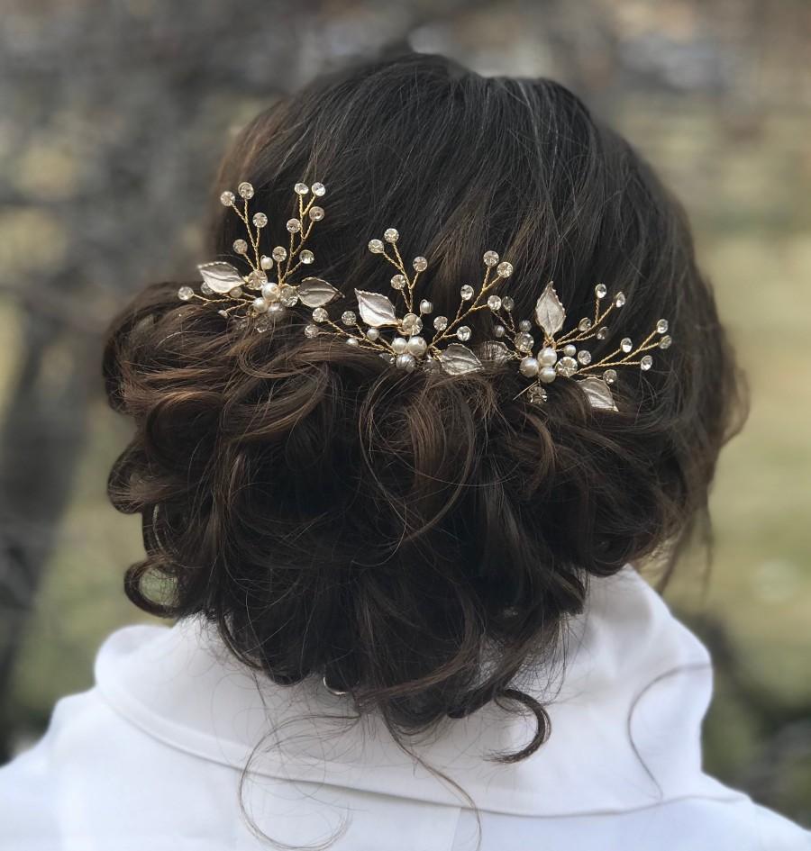 Mariage - Bridal Hair Pins, Pearl Rhinestone Hair Pins, Wedding Hair Accessory, Gold Leaf Hair Pins, Bridesmaid Hair Accessory