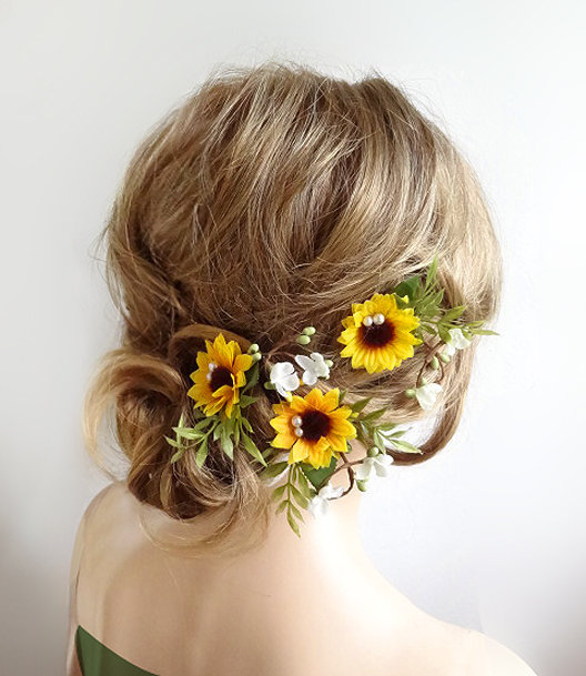 Hochzeit - sunflower hair clips bridal, sunflower hair pins, bridal hair pins flower, sunflower hair clip, yellow hair flower, floral hair pins wedding