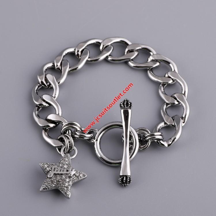 زفاف - Juicy Couture Silver-Tone Pave Star Charm Toggle Bracelet