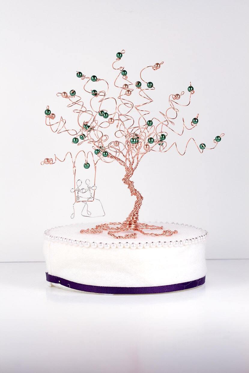 Wedding - Greenery Wedding Cake Topper Wire Tree Sculpture with Couple on a Swing Wedding Tree Wedding Greenery